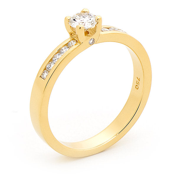 9k Yellow Gold Diamond Solitaire with Channel Set Shoulders