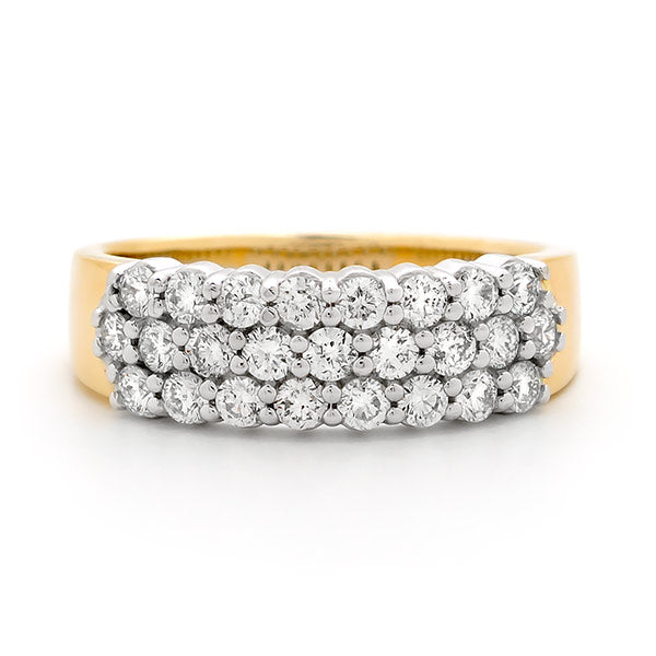 9k Yellow Gold 3 Row 1ct Diamond Anniversary Ring