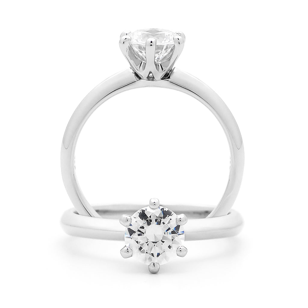 18k White Gold Half Carat Solitaire Diamond Engagement Ring