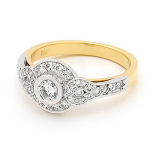 9k Yellow Gold Diamond Engagement or Dress Ring