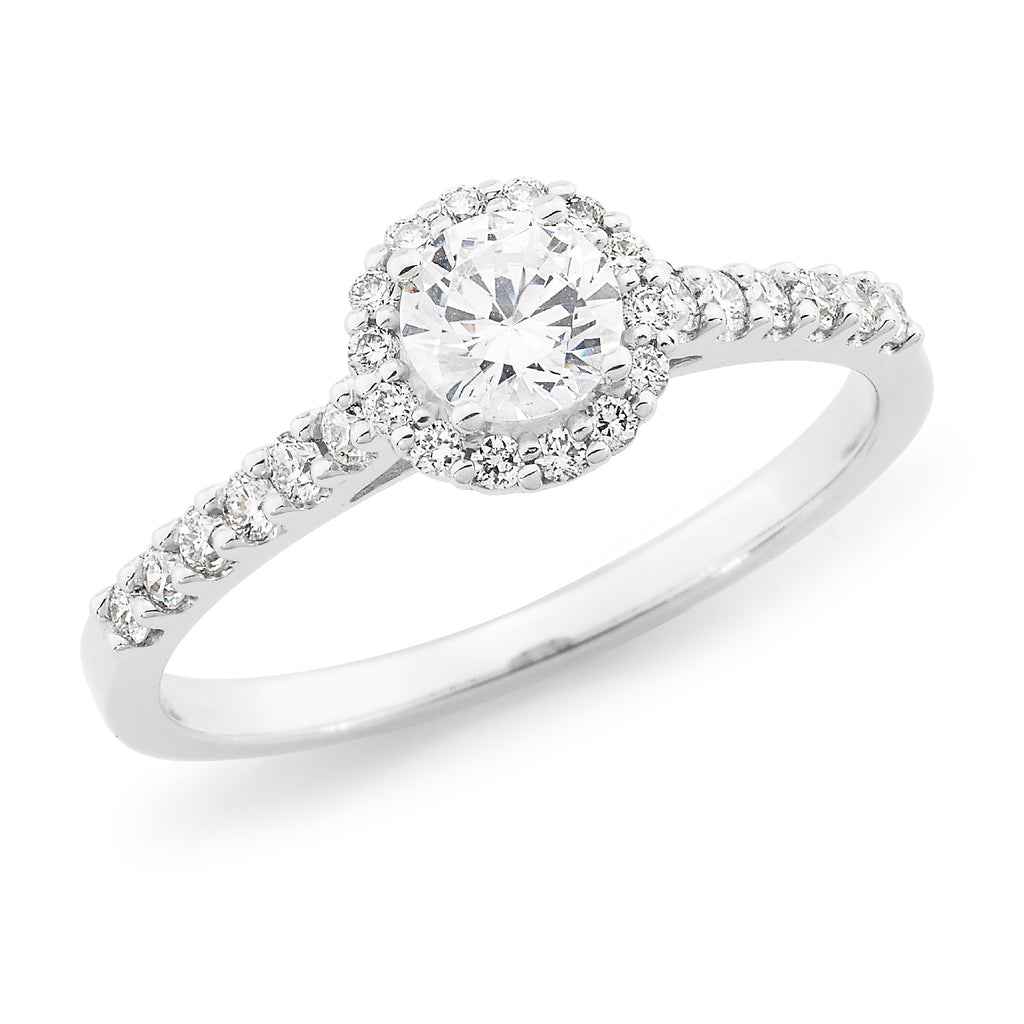 9k White Gold Diamond Halo Engagement Ring with Shoulder Diamonds