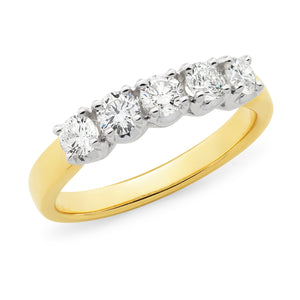 9k Five Stone Claw Set Diamond Dress Ring or Anniversary Ring