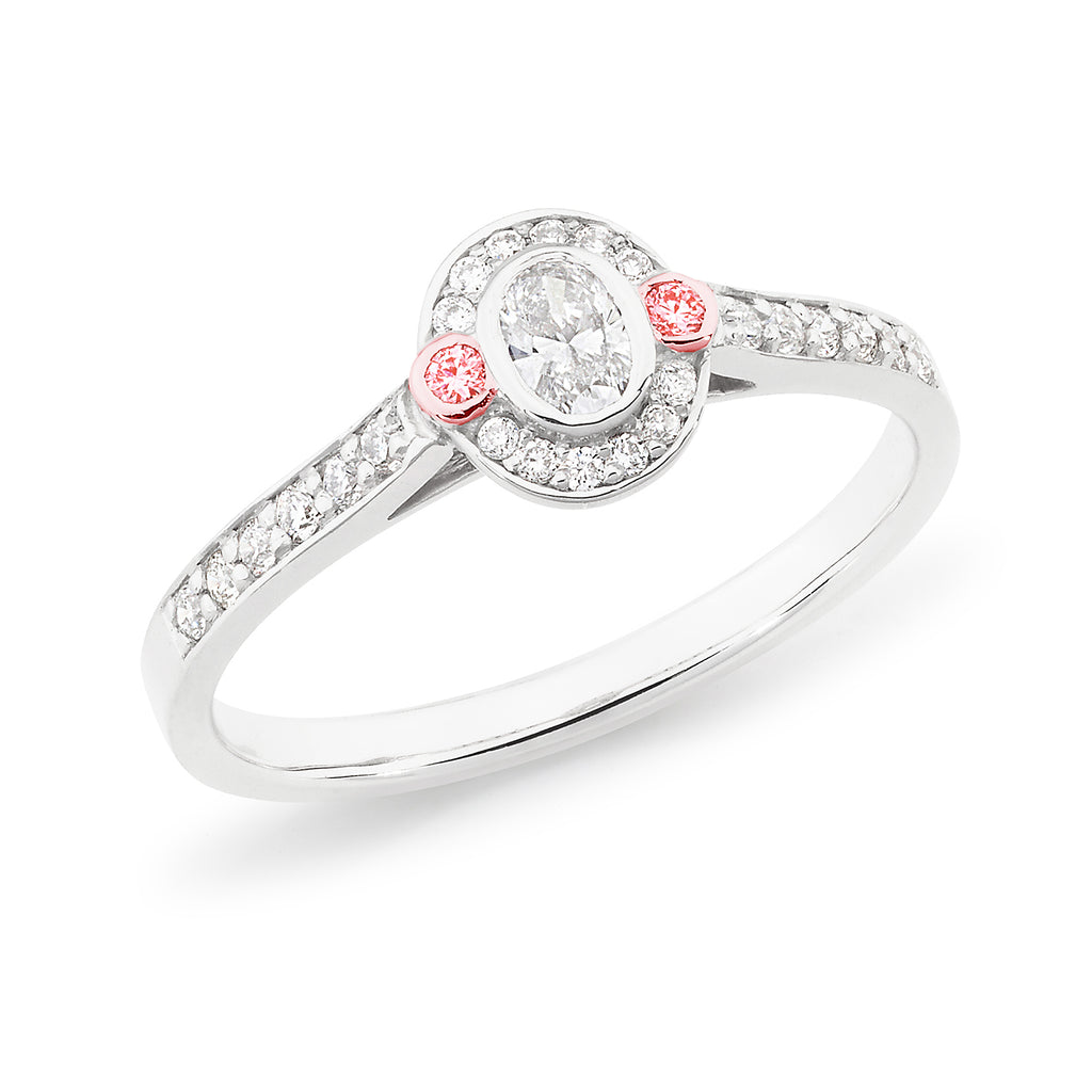 18k White Gold Oval Diamond Halo Engagement Ring with Pink Diamonds on Shoulders