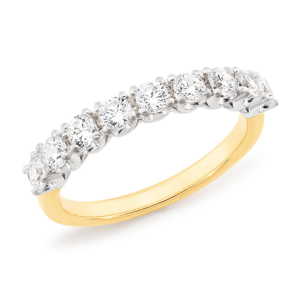 9k Yellow Gold Straight Claw Set Diamond Wedding or Eternity Ring