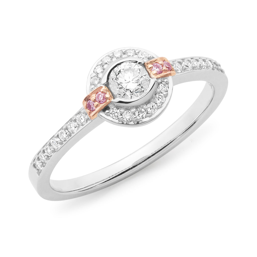 9k White Gold Diamond Halo Engagement Ring with Pink Diamonds on Shoulders