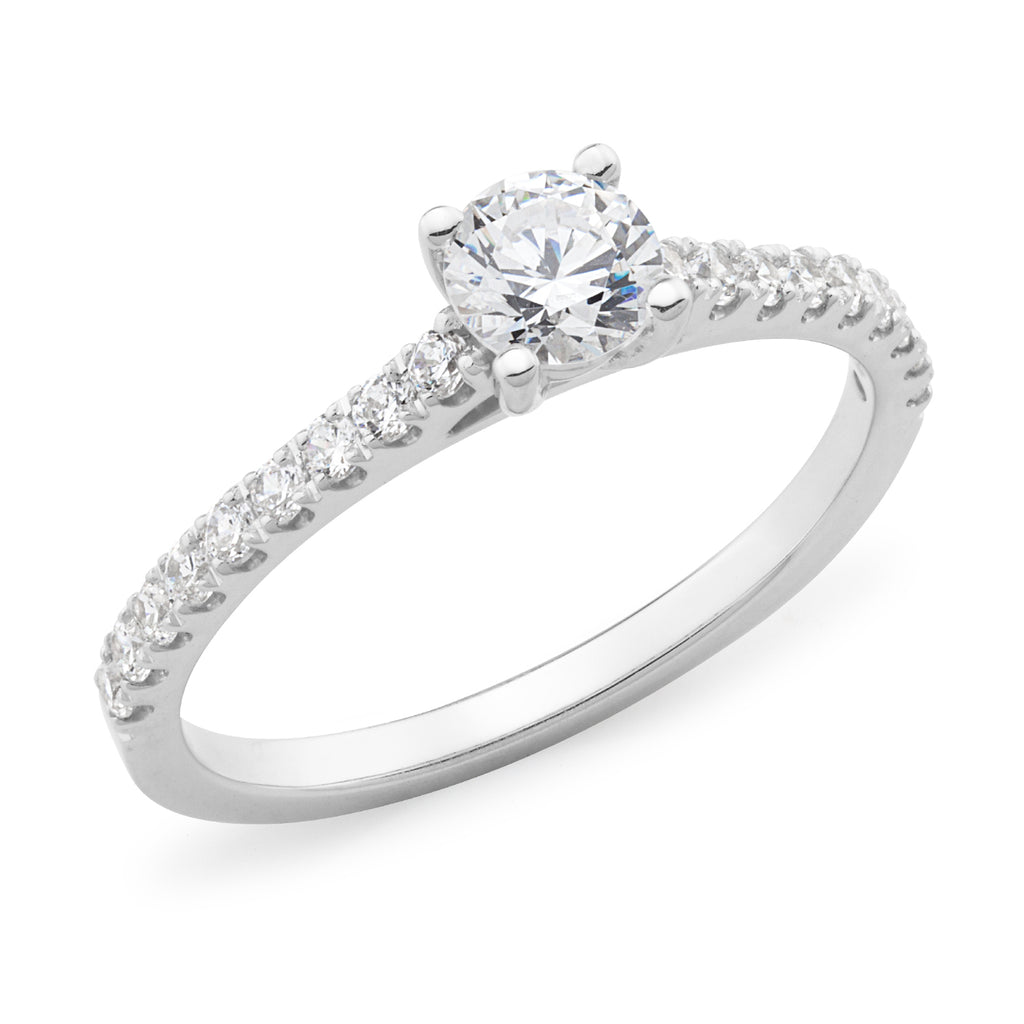 9k White Gold 4 Claw Solitaire Diamond Engagement Ring with Claw Set Shoulders