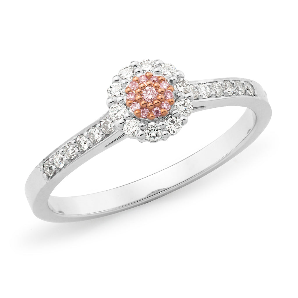 9k White Gold Cluster Engagement Ring with Pink Diamond Halo