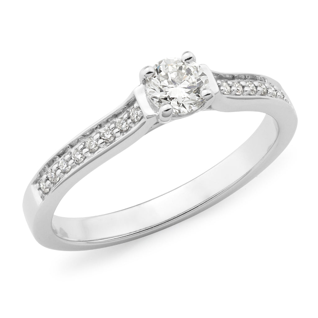 9k White Gold Diamond Solitaire Engagement Ring with Bead Set Shoulders