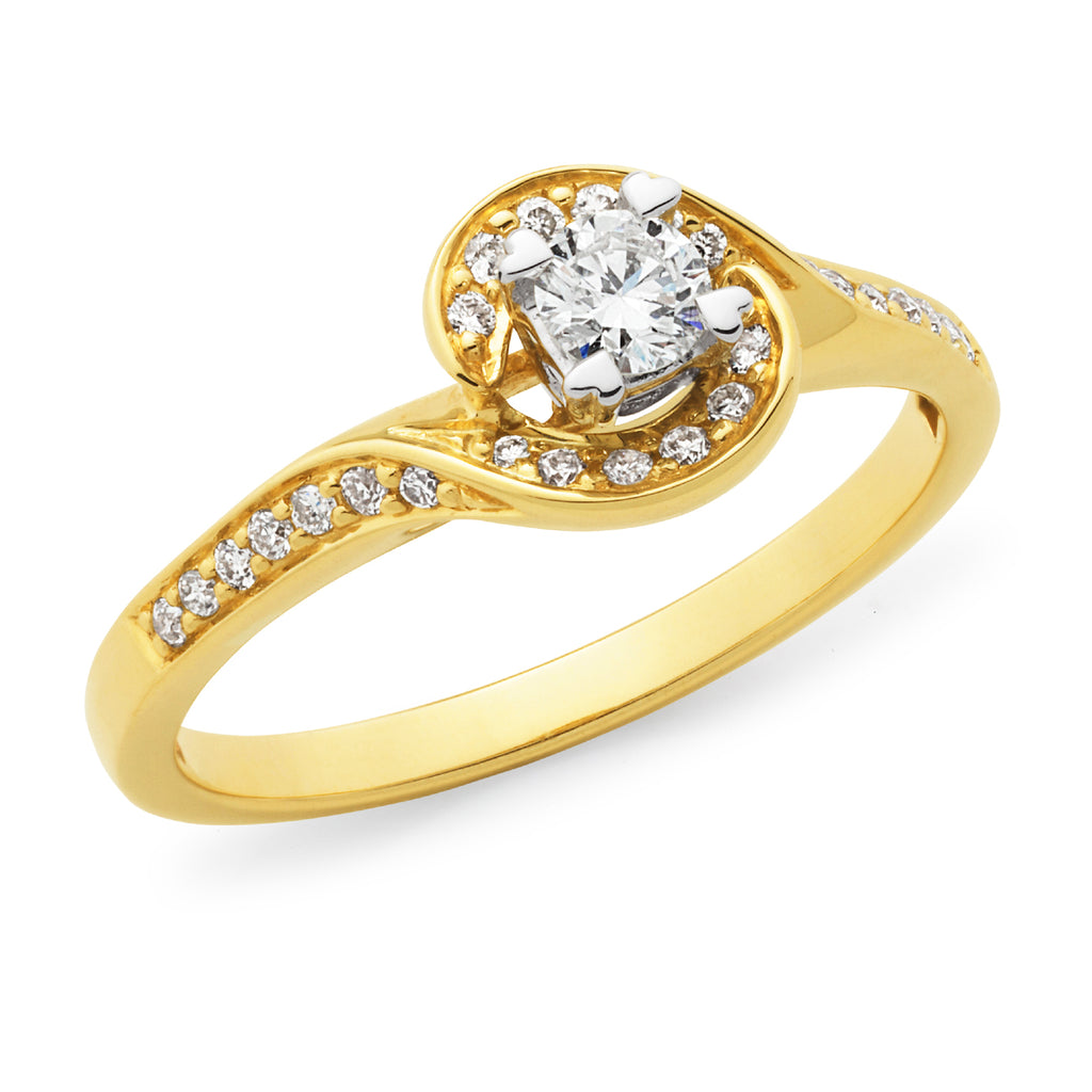 9k Yellow Gold Diamond Solitaire Engagament Ring with Bead Set Swirl Shoulders