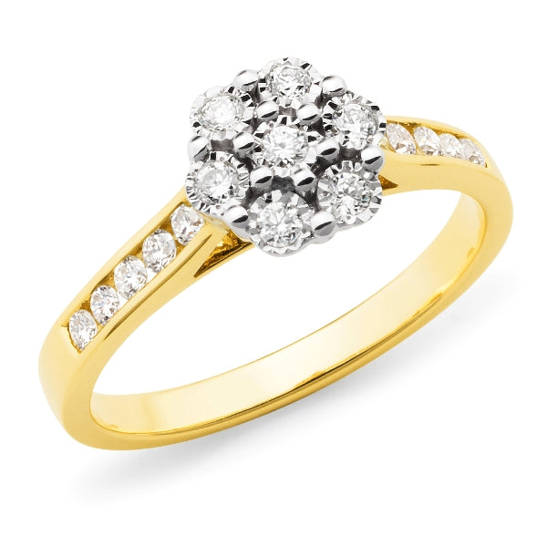 9k Yellow Gold Diamond Cluster Engagement Ring with Channel Set Shoulders