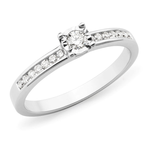 9k White Gold Diamond Solitaire Engagement Ring with Shoulder Diamonds