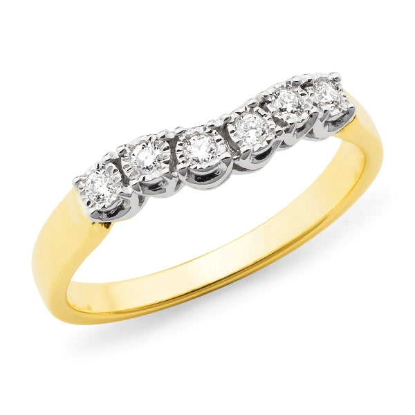 9k Yellow Gold Diamond Claw Set Fitted Wedding or Eternity Ring