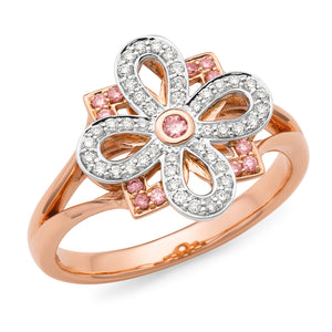 9K Rose Gold Flower Design Dress Ring with Pink Diamonds and White Diamonds