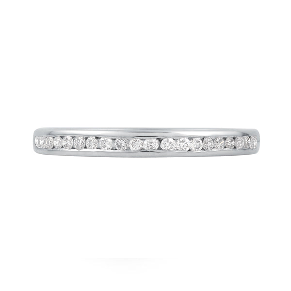 9k White Gold Straight Channel Set Diamond Wedding Ring