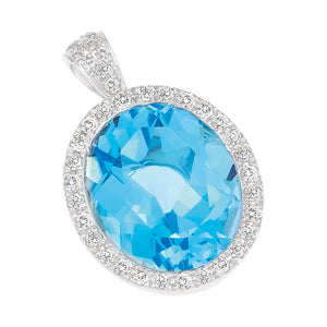 9ct White Gold Oval Blue Topaz and  Round Brilliant-cut Diamond Pendant