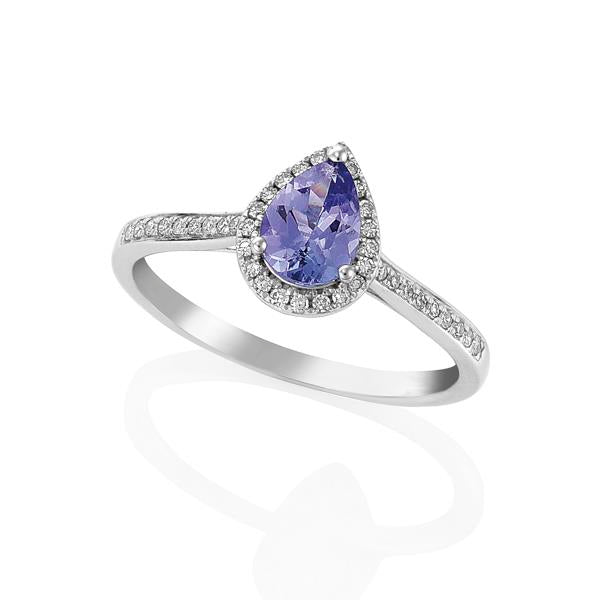 9ct White Gold Pear Tanzanite and Round Brilliant-cut Diamond Ring