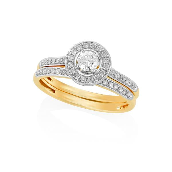 9ct Yellow Gold Round Brilliant-cut Diamond Micro Pave Ring with Round Brilliant-cut Diamond Claw Centre and Matching Wedder Set