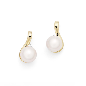 9ct Yellow Gold Freshwater Pearl & Diamond Stud Earrings
