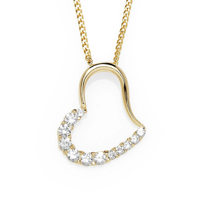 9ct Gold Half Polished/Half Cubic Zirconia Heart Slider Pendant