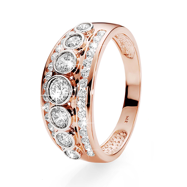 9ct Rose Gold Three-Row Bezel & Channel-Set Cubic Zirconia Ring