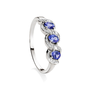 9ct White Gold Claw Set 3 Stone Oval Tanzanite & Pave Diamond Ring