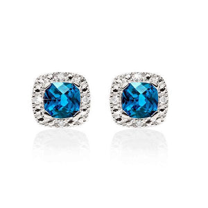 9ct White Gold Cushion Cut London Blue Topaz With Pave Diamond Surround Earrings