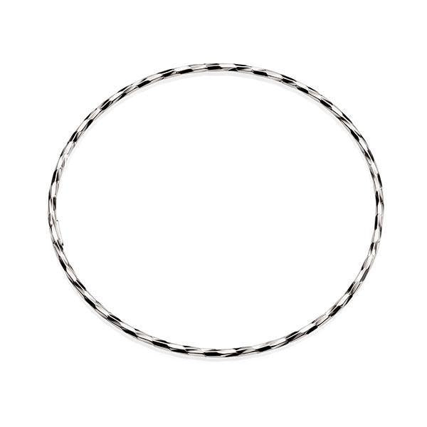 Sterling Silver 65mm Thin Diamond Cut Twist Bangle