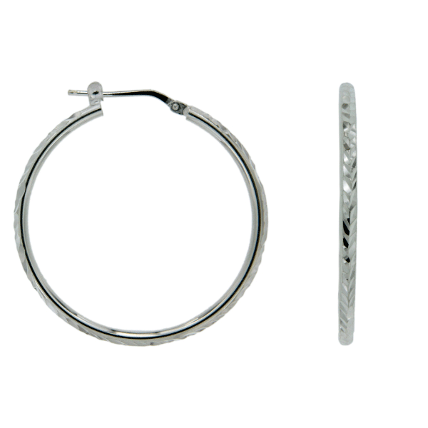 Sterling Silver 20mm Round Tube Dia Cut Top Hoop Earrings