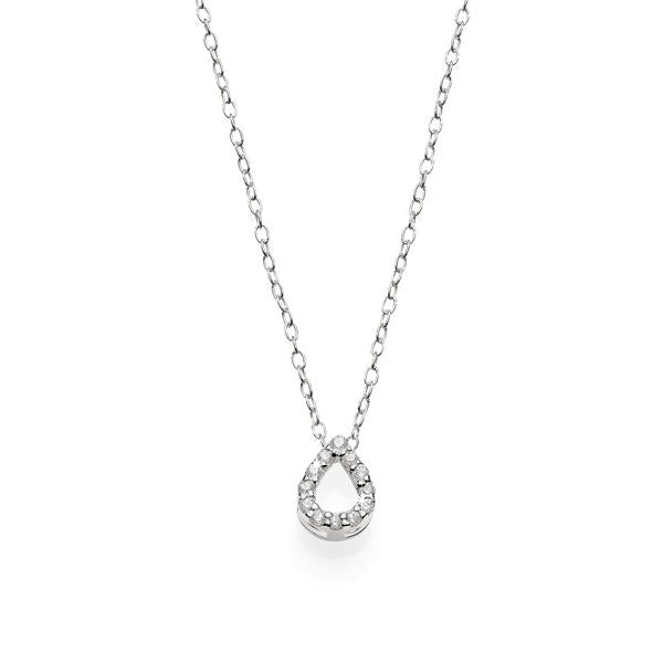 Sterling Silver Cubic Zirconia Claw Set Open Pear Shape Pendant With Chain