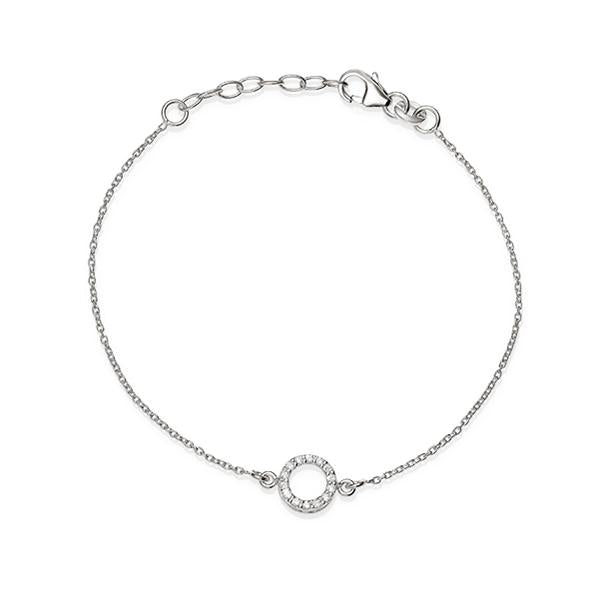 Sterling Silver Cubic Zirconia Set Open Circle 19Cm Bracelet