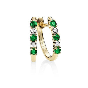 9ct Yellow Gold Claw Set Created Emerald And Bezel Set Diamond Huggie Earrings