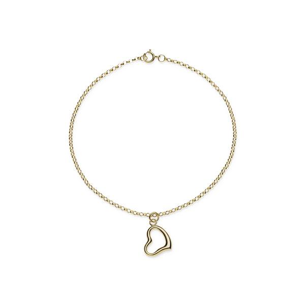 9ct Yellow Gold Round Belcher Heart Bracelet