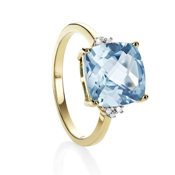 9ct Yellow Gold Blue Topaz & Dia Ring