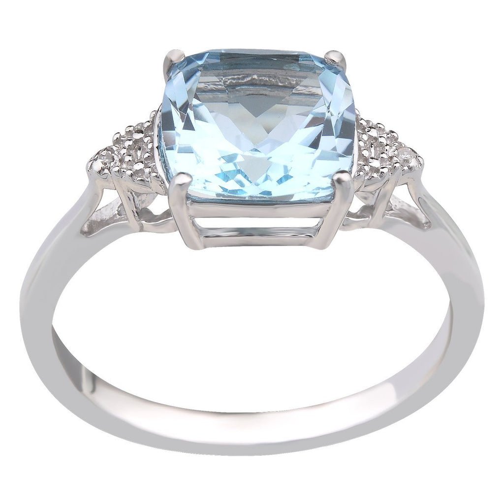Sterling Silver Blue Topaz (Cushion 8X8) & Diamond 0.006ct Ring