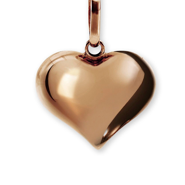 9ct Rose Gold 15mm Polished Puffed Heart Pendant