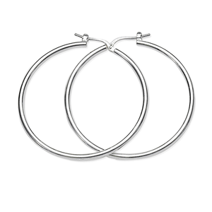 Sterling Silver 25mm 2mm Polished Tube Hoops