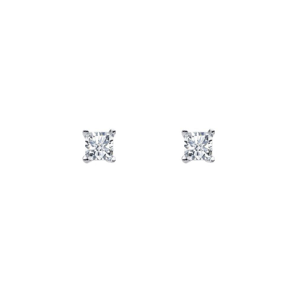 Ellani SS 4mm Princess WH CZ Claw Studs