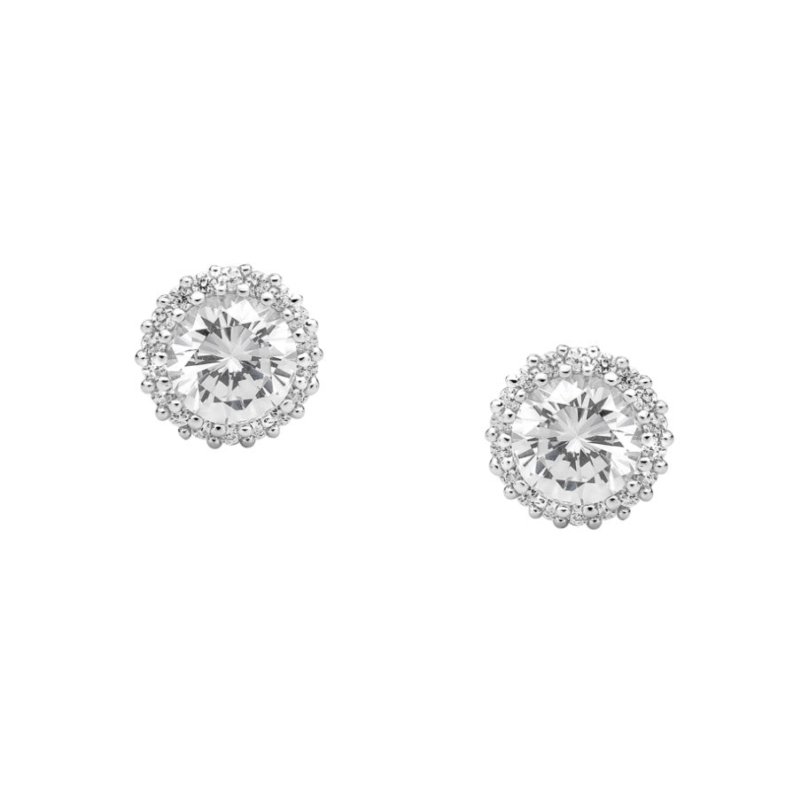 Ellani SS WH CZ Raised Solitaire with WH CZ Surround Earrings