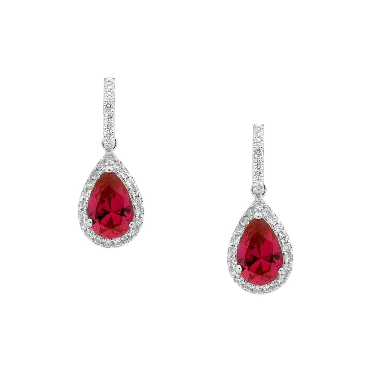 Ellani SS Red CZ Pear Drop Earrings with WH CZ surround