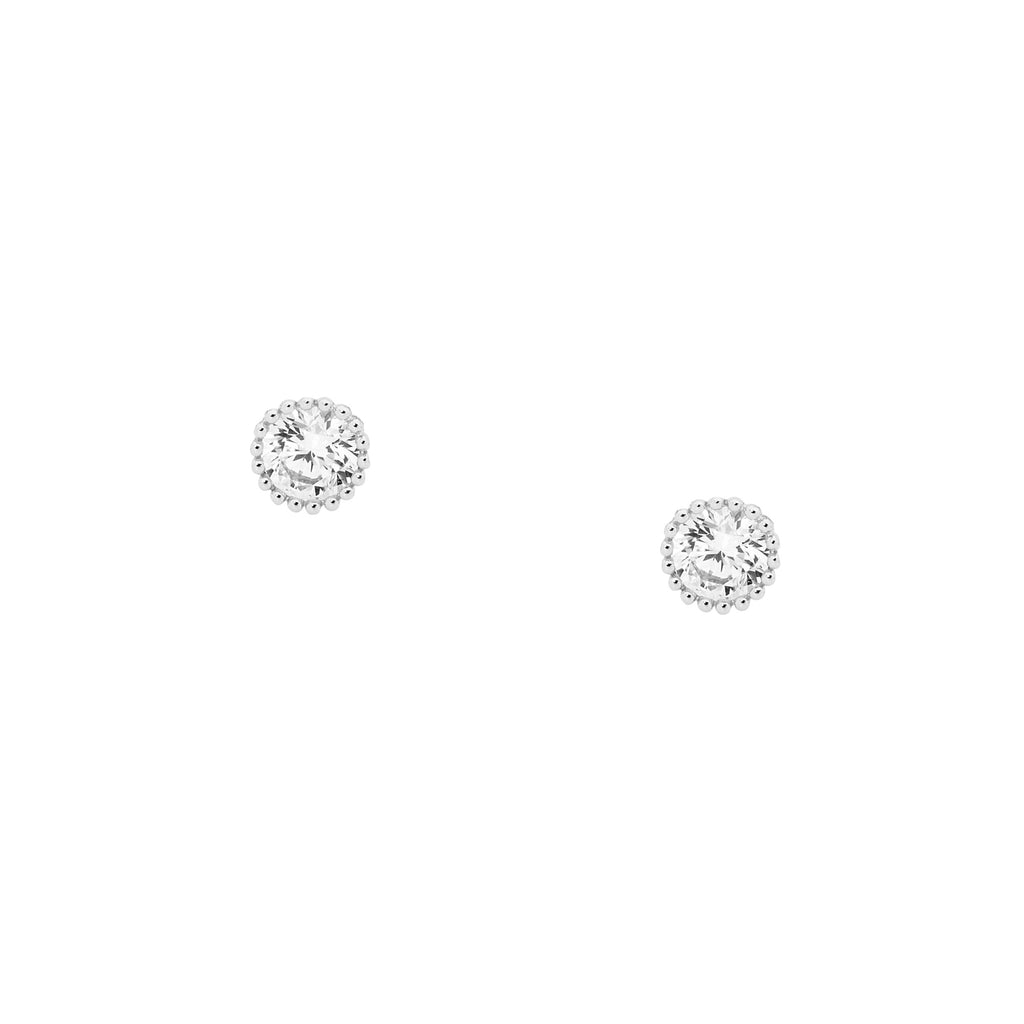 Ellani SS 4mm WH CZ Crown Set Earrings