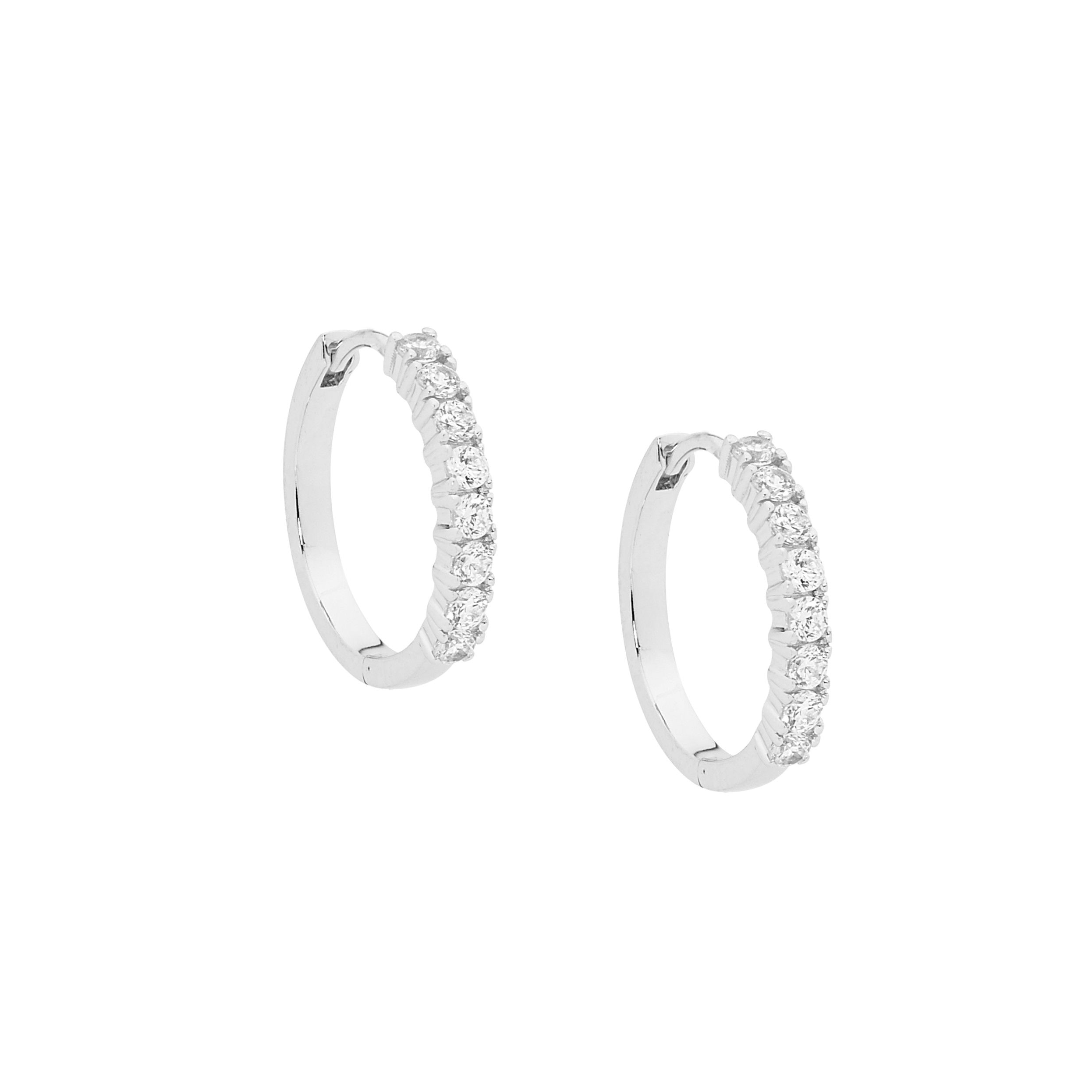 Ellani SS WH CZ 15mm Hoop Earrings