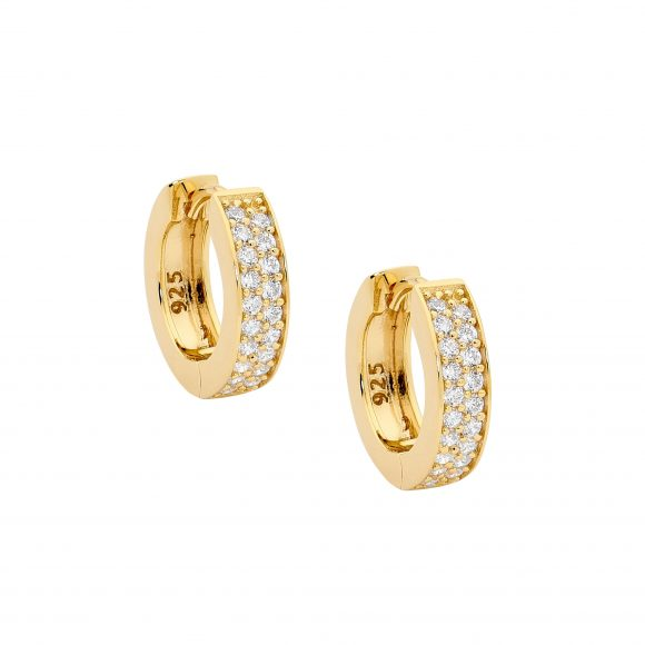 Ellani SS WH CZ 15mm Dble Row Pave Hoop Earrings with Gold Plating