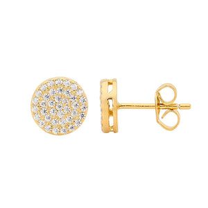 Ellani SS WH CZ Pave 8mm Circle Stud Earrings with Gold Plating
