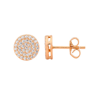 Ellani SS WH CZ Pave 8mm Circle Stud Earrings with Rose Gold Plating