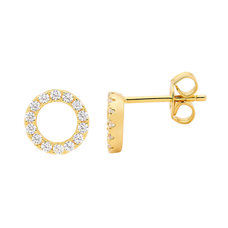 Ellani SS WH CZ 8mm Open Circle Earrings with Gold Plating