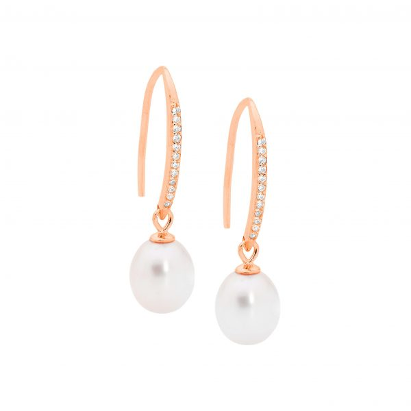 Ellani SS WH CZ Drop Shp Hook Earrings with Freshwater Pearl & Rose Gold Plating