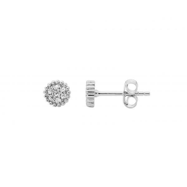 Ellani SS 5mm Crown Set WH CZ Cluster Earrings
