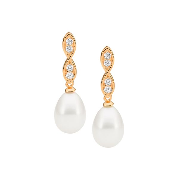 Ellani SS WH CZ Twist Drop Earrings with Freshwater Pearl & Rose Gold Plating