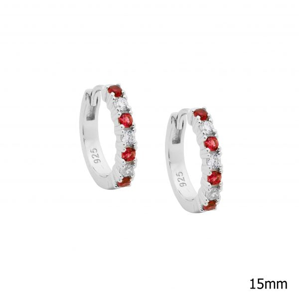 Ellani SS 14mm hoop earrings with white & red CZ