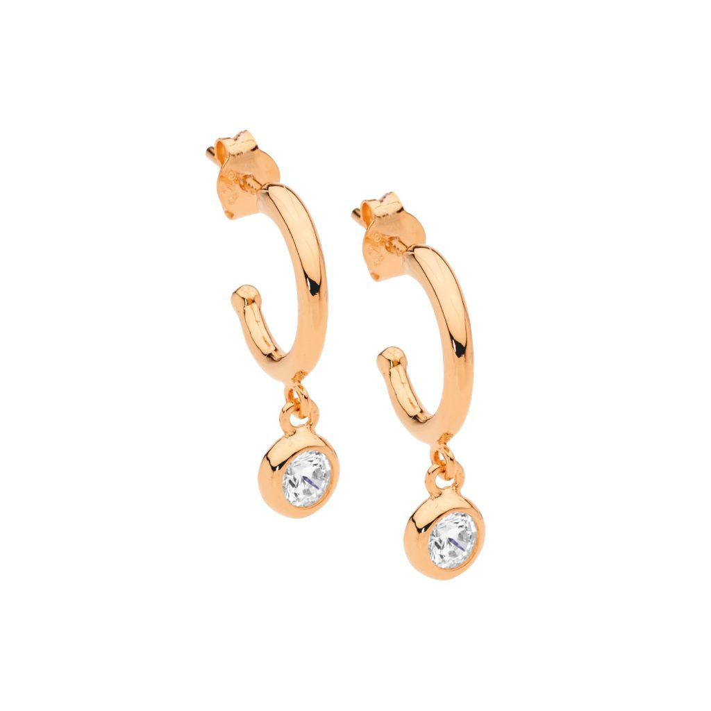 Ellani SS 13mm hoop earrings, wh cz bezel drop with rose gold plating